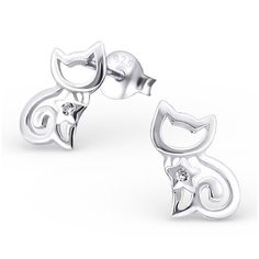 Gemstone Cat Real Sterling Silver Stud Earrings  #stud #rings #sterling #silver #earrings #925 #online #childrens #jewelry #womans