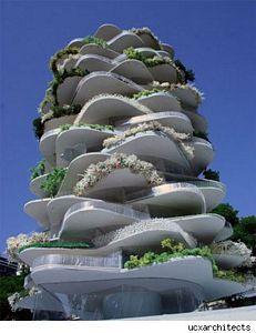 """""""La Casa Cactus se ubica en Rótterdam – Países Bajos –, y no es más que un edificio de departamentos aunque su aspecto descoloque a quien pase por su calle desprevenido. Su objetivo es maximizar el espacio para jardines exteriores de los propietarios."""""""