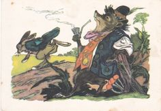 1974 VERY RARE Hare & Hedgehog Smokes pipe Fairy Tale Russian Soviet postcard   eBay