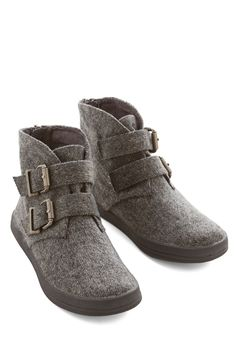 Lakeside Evening Bootie. The small, quiet lake in the center of the park looks inviting in the moonlight, and so do these grey herringbone booties! #grey #modcloth
