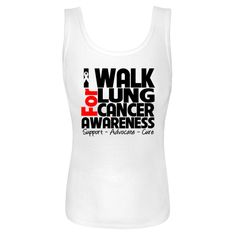 I Walk For Lung Cancer Awareness Women's Tank Tops featuring a text design with the motto SUPPORT, ADVOCATE and CURE and an awareness ribbon