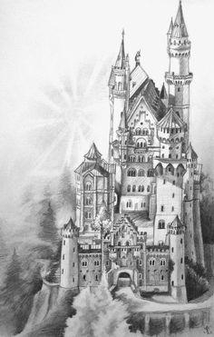 Neuschwanstein castle by lhox on deviantart castle sketch, castle drawing, castle painting, fantasy Castle Sketch, Castle Drawing, Castle Painting, House Drawing, Animal Drawings, Pencil Drawings, Burg Tattoo, Modern Castle, Arte Quilling