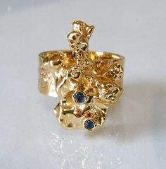 Gold Nugget Ring with Sapphires by laurastamperdesigns on Etsy