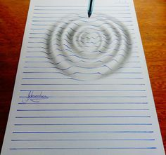 Drawings Lined Paper Illusion Drawings by Artist - artist João A. Carvalho creates wonderful drawings in which lined notebook paper appears to form three-dimensional characters and forms. Notebook Art, Notebook Drawing, Notebook Paper, Lined Notebook, Notebook Doodles, 3d Illusion Drawing, Illusion Art, 3d Drawings, Amazing Drawings