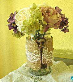 Beautiful- burlap lace and old key mason jars flower vase.