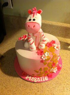 Gâteau 1 an fille girafe fleurs