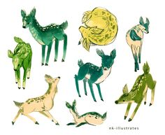 """nk-illustrates: """" Baby Plant whale, elephant, and deer. They are from my wordless comic, PLANT. Click on the link below to read: PLANT story """""""