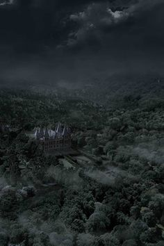 Malfoy Manor from a distance Draco Malfoy Aesthetic, Slytherin Aesthetic, Images Terrifiantes, Dark Green Aesthetic, Images Harry Potter, Slytherin House, Hogwarts Houses, Harry Potter Wallpaper, Dark Fantasy
