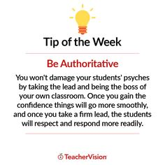 TeacherVision Tip of the Week: Be Authoritative | For more teaching tips and advice, visit TeacherVision.com!