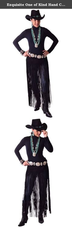 """Exquisite One of Kind Hand Cut and Handmade Black Suede Belt Western Wear with Long Fringe. Exquisite Black Suede Belt With Long fringe which is approx.30"""" long and is hand cut and handmade. This belt is an essential addition to your Sexy Western Wear. Wear this Suede Belt With Long fringe with your Jeans, leggings or our Palazzo pants, add your own silver concho belt and Turquoise Jewelry to complete the look. Looks great with Western boots. It closes in the front with Velcro. 100%…"""