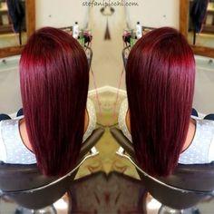 Deep, rich red! Love this hair!❤️