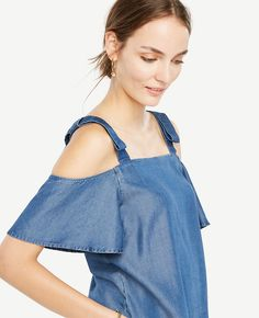 Shop Ann Taylor for effortless style and everyday elegance. Our Chambray Bow Cold Shoulder Blouse is the perfect piece to add to your closet.