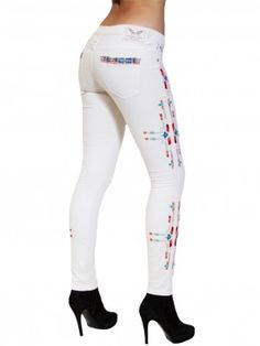 4caa5a4060fb SKINNY JEAN IN OFF WHITE WITH HAND EMBROIDERED NATIVE AMERICAN DESIGN Robin  Jeans, Native American
