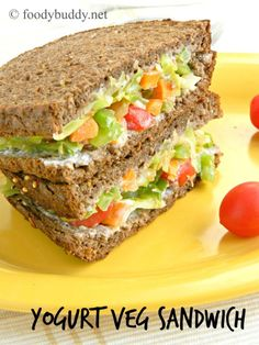 Yogurt Veg Sandwich is a healthy, refreshing sandwich for breakfast or lunch or dinner. This easy to make vegetarian sandwich is great to pack for lunch box.