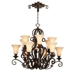 Kalco Ibiza 12 Light Shaded Chandelier Finish: Copper Claret, Shade Type: Champagne Small Oval Glass