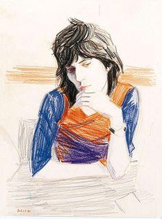 Elizabeth Peyton colored pencil