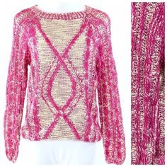 Soft Magenta Pink Ivory Cable Knit Sweater Large Cable Knit Sweater Size Large Retail $89 ‼️ PRICE FIRM UNLESS BUNDLED WITH OTHER ITEMS FROM MY CLOSET ‼️ 