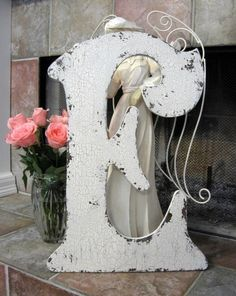LETTER E 2 ft. tall Shabby Chippy Cottage Vintage Style Signs French Chic Initials Letters