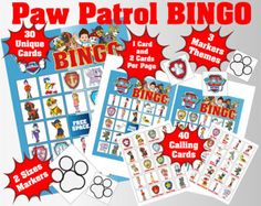 Paw Patrol 5x5 Bingo printable PDFs | 1 Card & 2 Cards Per Page | 30 Unique Cards | 40 Calling Cards | 3 Markers Themes Available in 2 Sizes