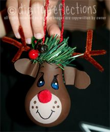 found on digitalreflections blog, made with burned out light bulb, craft paint, and craft items. Cute.