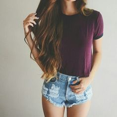 Burgundy shirt and light blue shorts