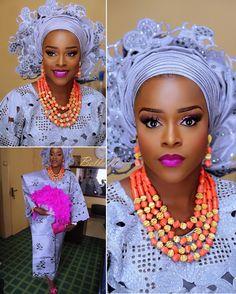 ✨ unique ! Bunmi Dada  Scalloped Edges!  Aso Oke by @tisbeeasooke  Makeup & photos by @banksbmpro  #BellaNaijaWeddings