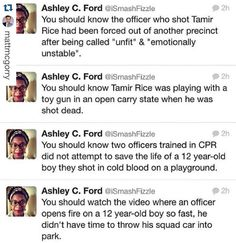 "#Repost @mattmcgorry with @repostapp.  These facts are important. Also important is the fact that Timothy McGinty (prosecutor) who is supposed to be on the side of #TamirRice repeatedly undermined the position he was supposed to be supporting. And the fact that the person who reported Rice said in the call that the gun was ""probably fake"" which was apparently never relayed to the officers. Whether or not the officer who shot Rice was blatantly racist or not almost doesn't matter when the…"