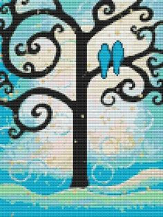 Love Birds on Tree Free Cross Stitch Pattern Chart