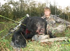 Nate, hunting at 12 years of age and he took home two bears.  His first with a rifle and his second he pocked 3 arrows into this bear at 22 yards hitting the bear in the spine and neck bone.  The bear dropped from his first arrow, the others arrows were reassurance of his bear on the ground.  Fantastic shooting.  What a pleasure to have Nate in camp at Alberta Wilderness Adventures www.albertaoutfitting.com.  To learn more about where to sign up visit Alberta Outdoors at www.abhunting.com. Neck Bones, Bear Hunting, Help Kids, Morals, Alberta Canada, Black Bear, Arrows, Farm Animals, Wilderness