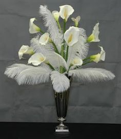 Cala Lilies with white feathers