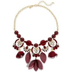 Inc International Concepts Gold-Tone Stone, Crystal & Mesh Fabric... ($40) ❤ liked on Polyvore featuring jewelry, necklaces, burgundy, crystal stone necklace, burgundy jewelry, stone jewelry, gold tone necklace and gold colored necklace