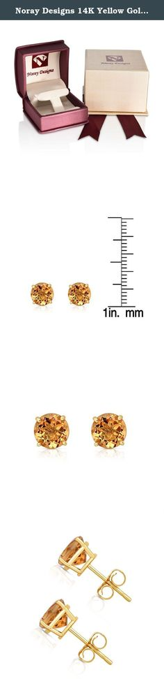 Noray Designs 14K Yellow Gold Citrine Stud Earrings (6 MM; Round Cut). These simple and beautiful stud earrings feature 6 mm round cut Citrine gemstones in 4-Prong basket setting, secured with butterfly backs. These lovely and darling stud earrings mounted in 14K Yellow Gold. These earrings are perfect for every day wear and will make a wonderful addition to your jewelry collection. The total carat weight may range from 1.80-2.00 carats. The product comes with a 30 Day seller warranty.