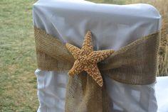 Beach Wedding Chair Sashes Burlap & Sugar Starfish Beach by JCBees, $29.98