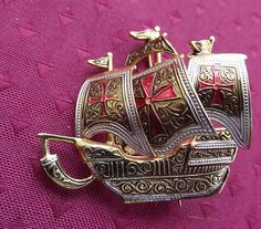 Signed Spanish Damascene Galleon Ship Brooch, Excellent from antiquetreasurechest on Ruby Lane