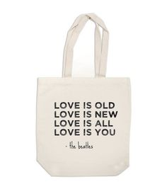 ExLibrisJournals: canvas tote bag - Love Is Old, Love Is New, the Beatles - book bag, diaper bag, purse - made to order.