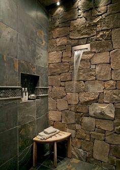 Slate and stone bathroom