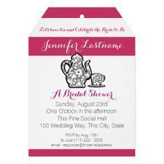 Bridal Tea Party with Color Choice Custom Invitations