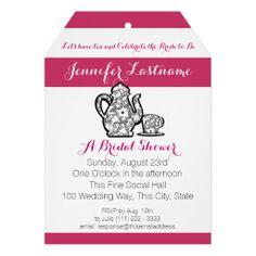 Bridal Tea Party with Color Choice Custom Invitations