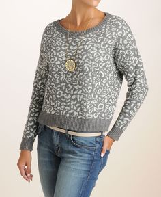 Free People Leopard Pullover Sweater