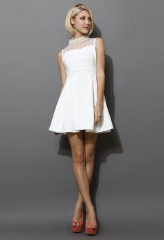 Sleeveless Pearl Collar Mesh Twill Dress i