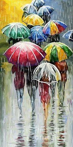 Umbrella In The Rain Painting - Walking In The Rain by Tim Gilliland Principles Of Art Balance, Balance Art, Umbrella Painting, Umbrella Art, Rain Painting, Keith Haring Art, Rain Art, Africa Art, Fine Art America