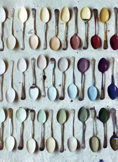 great idea for house colors. dip a spoon in the paint can when you paing a room then bring the spoon to the store to fine matching things