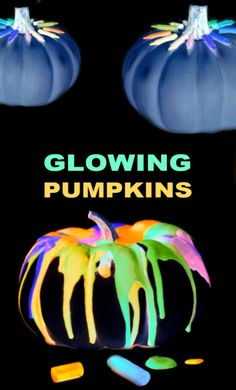 Skip the carving this Halloween and make melted crayon pumpkins instead! These pumpkins glow-in-the-dark, making them a super fun craft for kids! Autumn Activities For Kids, Spring Crafts For Kids, Halloween Activities, Science For Kids, Halloween Kids, Art For Kids, Kid Art, Learning Activities, Melted Crayon Crafts