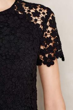 Lace short sleeves blouse. Simple black short sleeves blouse.