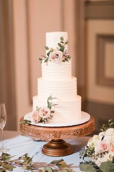 Simply textured 4 tier wedding cake with floral details wedding cakes Timeless Ballroom Wedding with Classic Everything Floral Wedding Cakes, Wedding Cake Designs, Wedding Cupcakes, 4 Tier Wedding Cakes, Cake Tables For Weddings, Floral Cake, Beautiful Wedding Cakes, Perfect Wedding, Dream Wedding