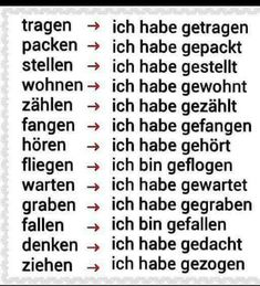 German past verbs Study German, German English, German Lesson, German Grammar, German Words, German Language Learning, Learn A New Language, Spanish Language, Languages Online