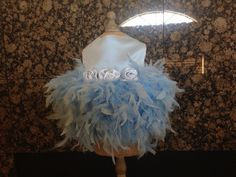 Something Blue Couture Feather Dog Dress by YvettesLittleShop, $60.00