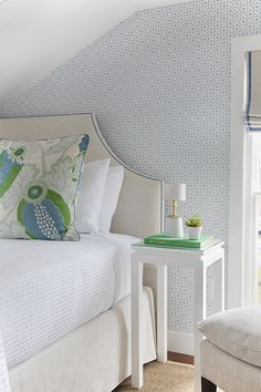 Bedroom Featuring Christopher Farr Carnival Bedroom Pillow Sham and Roman Shade with Blue Border (Annsley Interiors for The Christopher Marthas Vineyard)