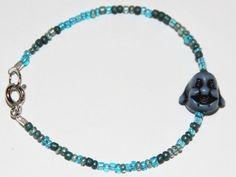 Blue Beaded Buddha Bracelet - Stackable/Layering