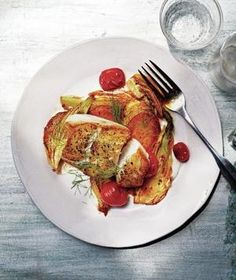 Try this Roasted Cod with Fennel and Tomatoes with halibut instead, for Phase 3. Sub an extra fennel bulb for the potatoes, and use safflower mayo.